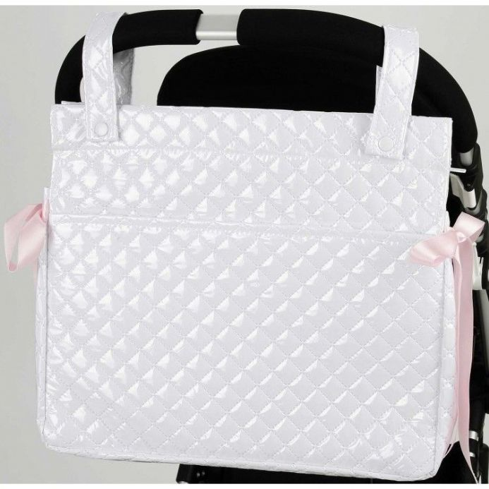 Romany Talega White and Pink Changing Bag with Bow Detail
